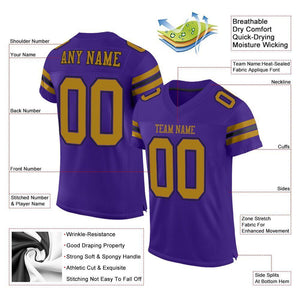 Custom Purple Old Gold-Black Mesh Authentic Football Jersey