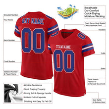 Load image into Gallery viewer, Custom Red Royal-White Mesh Authentic Football Jersey