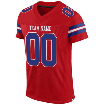 Custom Red Royal-White Mesh Authentic Football Jersey