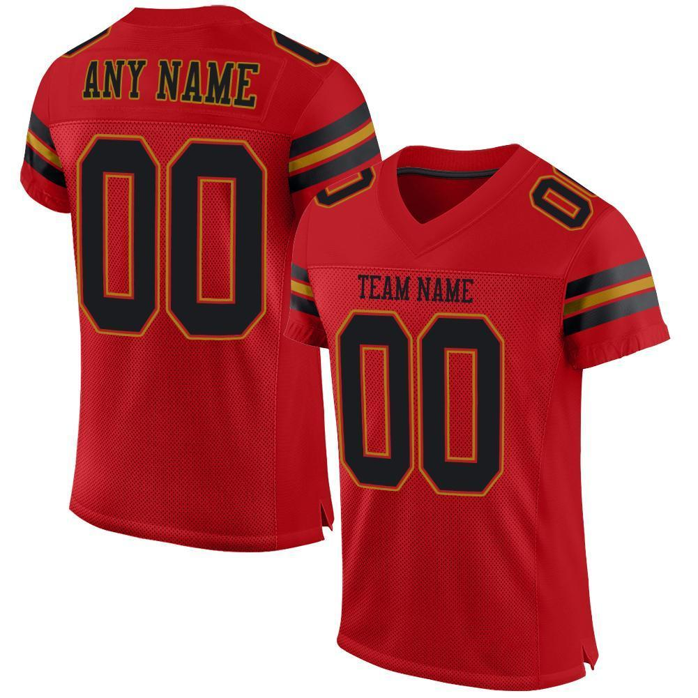 Custom Red Black-Old Gold Mesh Authentic Football Jersey