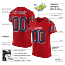 Load image into Gallery viewer, Custom Red Navy-White Mesh Authentic Football Jersey