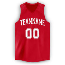 Load image into Gallery viewer, Custom Red White V-Neck Basketball Jersey