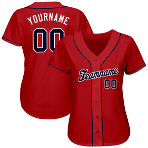 Custom Red Navy-White Authentic Baseball Jersey
