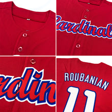 Load image into Gallery viewer, Custom Red Red-Navy Authentic Baseball Jersey
