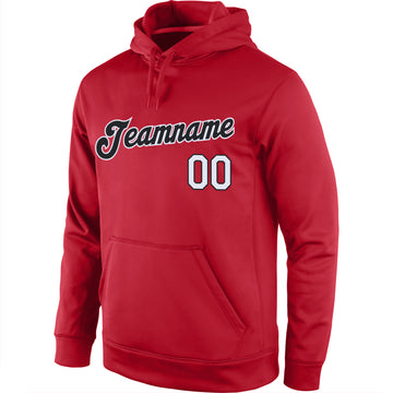 Custom Stitched Red Black-White Sports Pullover Sweatshirt Hoodie