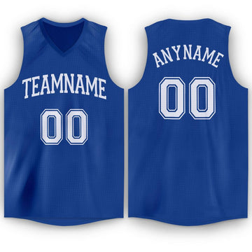 Custom Royal White V-Neck Basketball Jersey