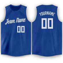 Load image into Gallery viewer, Custom Royal White Round Neck Basketball Jersey