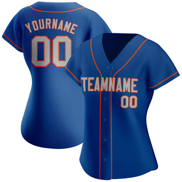 Custom Royal Gray-Orange Authentic Baseball Jersey