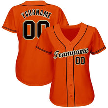 Load image into Gallery viewer, Custom Orange Black-Cream Baseball Jersey