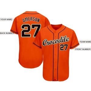 Custom Orange Black-Cream Baseball Jersey