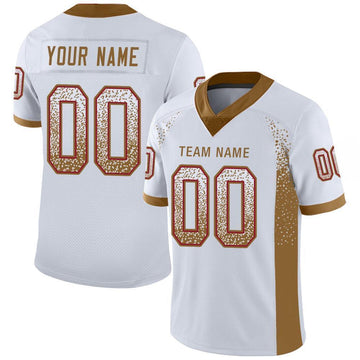 Custom White Old Gold-Red Mesh Drift Fashion Football Jersey