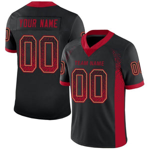 Custom Black Red-Old Gold Mesh Drift Fashion Football Jersey