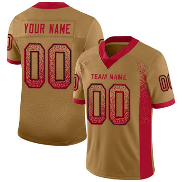 Custom Old Gold Red-Black Mesh Drift Fashion Football Jersey