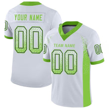 Load image into Gallery viewer, Custom White Neon Green-Navy Mesh Drift Fashion Football Jersey