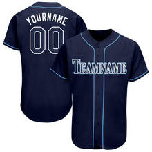 Load image into Gallery viewer, Custom Navy White-Powder Blue Baseball Jersey