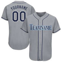 Load image into Gallery viewer, Custom Gray Navy-Powder Blue Baseball Jersey