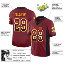 Load image into Gallery viewer, Custom Burgundy Black-Gold Mesh Drift Fashion Football Jersey