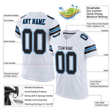 Load image into Gallery viewer, Custom White Black-Panther Blue Mesh Authentic Football Jersey
