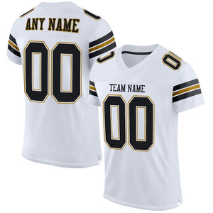 Custom White Black-Old Gold Mesh Authentic Football Jersey