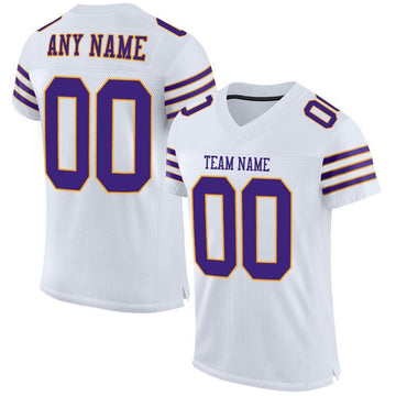 Custom White Purple-Gold Mesh Authentic Football Jersey