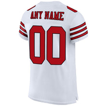 Load image into Gallery viewer, Custom White Red-Black Mesh Authentic Football Jersey