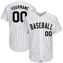 Load image into Gallery viewer, Custom White Purple Strip Black-Gray Authentic Baseball Jersey