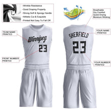 Load image into Gallery viewer, Custom White Black Round Neck Suit Basketball Jersey
