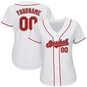 Custom White Red-Black Authentic Baseball Jersey