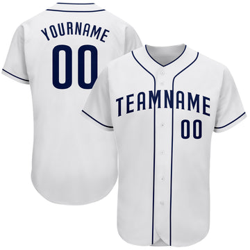Custom White Navy Authentic Baseball Jersey