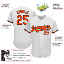 Load image into Gallery viewer, Custom White Orange-Black Authentic Baseball Jersey