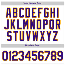Load image into Gallery viewer, Custom White Purple Strip Purple-Gold Authentic Baseball Jersey