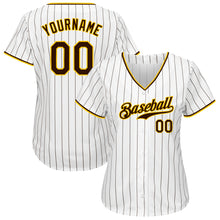 Load image into Gallery viewer, Custom White Brown Strip Brown-Gold Authentic Baseball Jersey