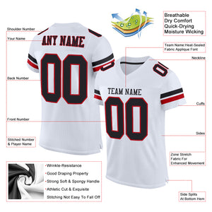 Custom White Black-Red Mesh Authentic Football Jersey