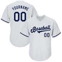 Load image into Gallery viewer, Custom White Navy Authentic Throwback Rib-Knit Baseball Jersey Shirt