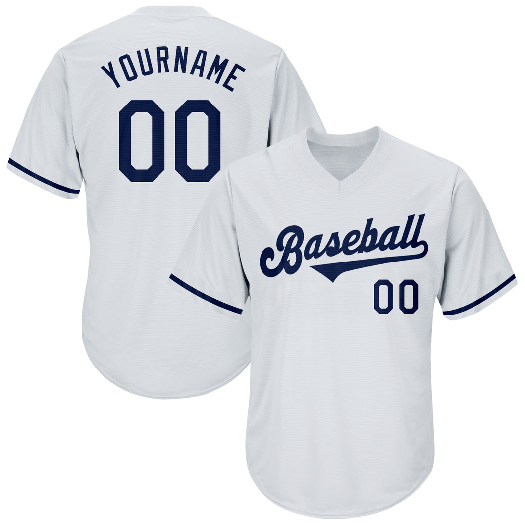 Custom White Navy Authentic Throwback Rib-Knit Baseball Jersey Shirt
