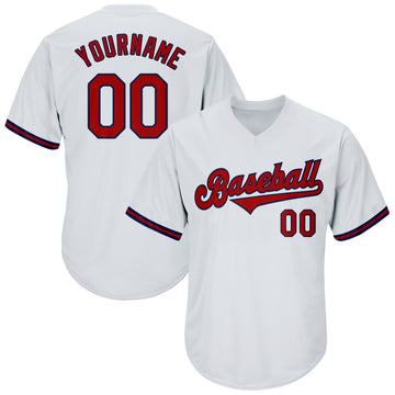 Custom White Red-Navy Authentic Throwback Rib-Knit Baseball Jersey Shirt