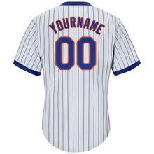 Load image into Gallery viewer, Custom White Royal Strip Royal-Orange Authentic Throwback Rib-Knit Baseball Jersey Shirt
