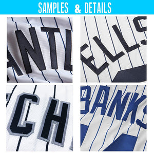 Custom White Navy Strip Navy-Gray Authentic Throwback Rib-Knit Baseball Jersey Shirt