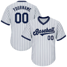 Load image into Gallery viewer, Custom White Navy Strip Navy-Gray Authentic Throwback Rib-Knit Baseball Jersey Shirt