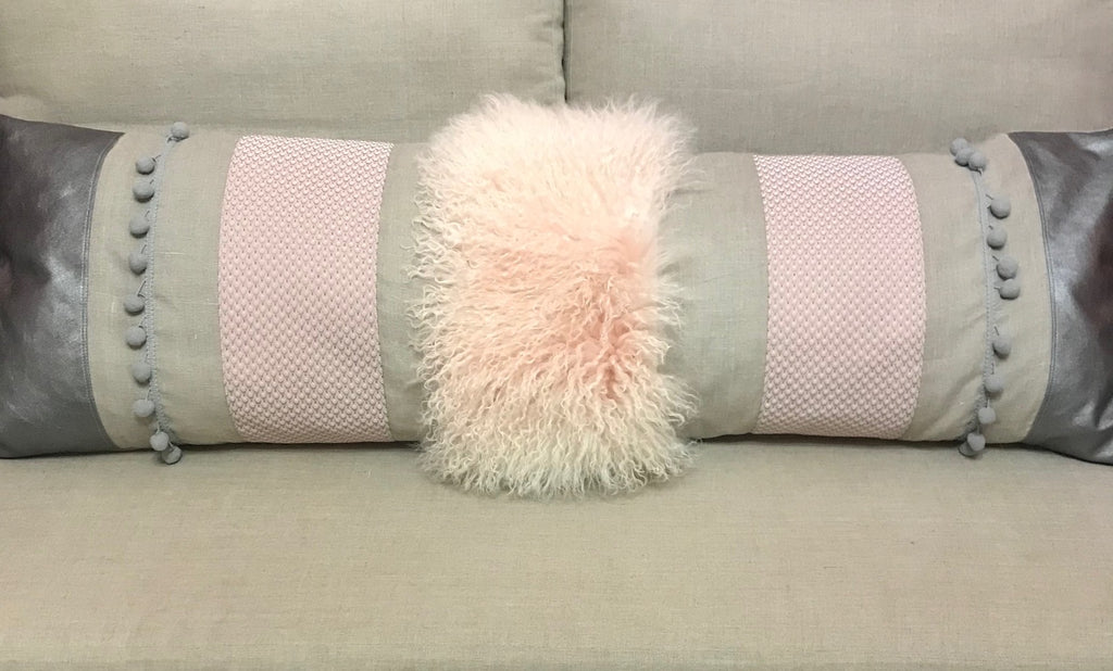 Extra long bed pillow - pink / grey