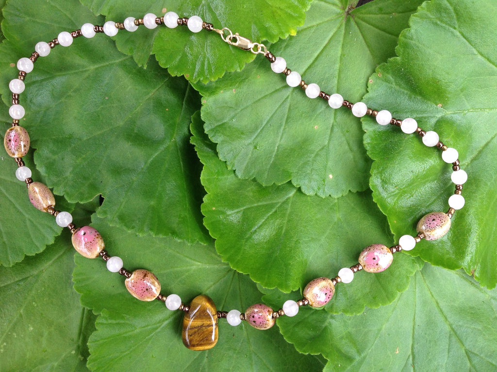 rose quartz with tiger eye necklace