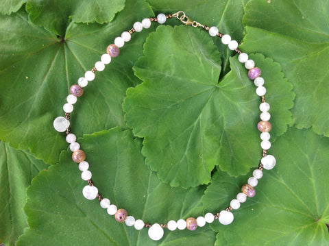 rose quartz and pink ceramic necklace