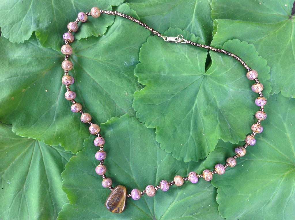 tiger eye and pink ceramic necklace