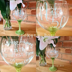 Personalised Age Related Glitter Balloon Gin Glass