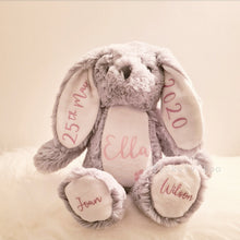 Load image into Gallery viewer, Personalised Grey & White Bunnies Teddies