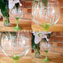 Load image into Gallery viewer, Personalised Glitter Stem Balloon Gin Glass