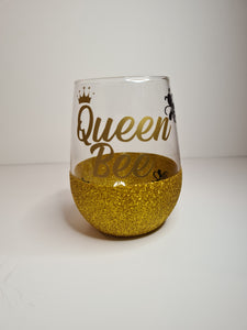 Queen Be Stemless Glitter Glass
