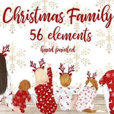 Christmas Family Best Friend Illustrations, Drawing, People, Print