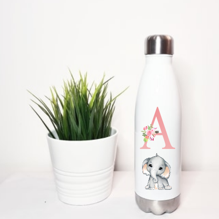 Elephant White Stainless Steel Water Bottle