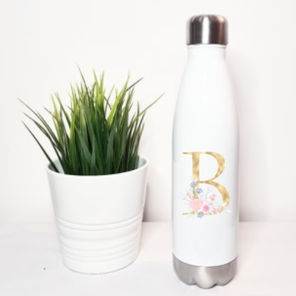 Gold Floral Inital Aluminium Thermo Bottle